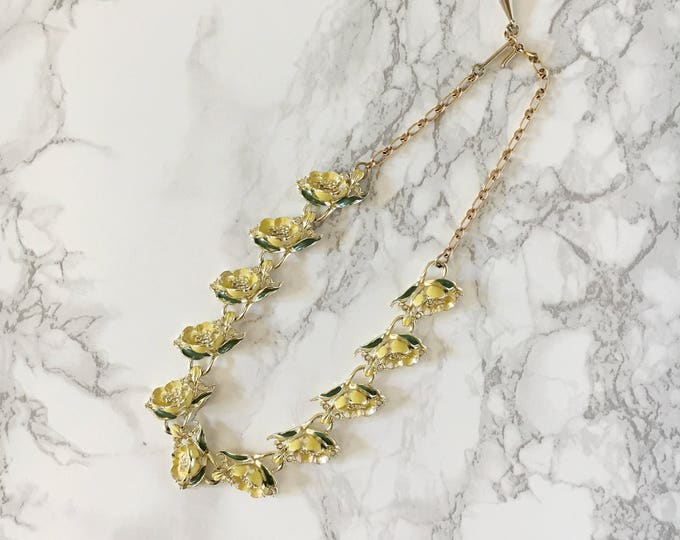 yellow and green enamel flower necklace