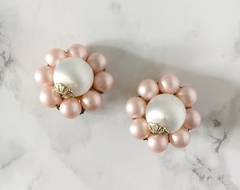 pink and pearl flower earrings