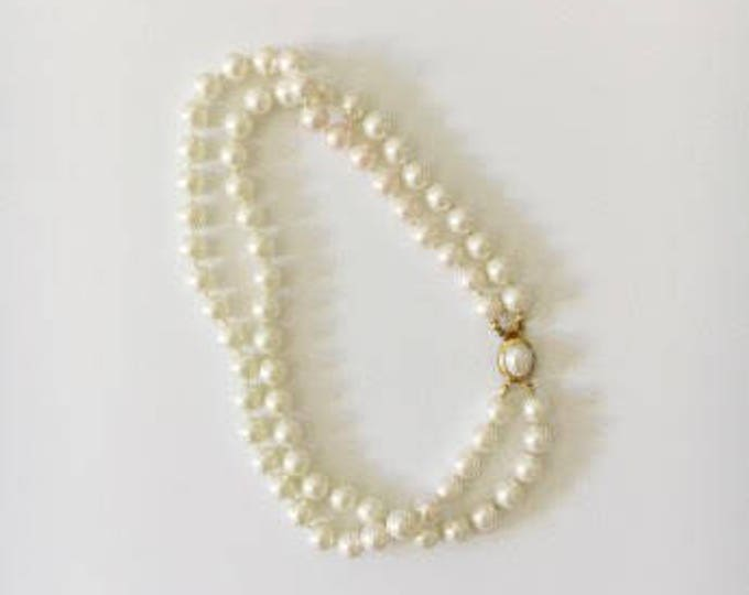 pearl and vermeil clasp necklace