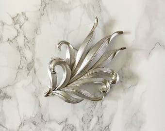 silver leaf brooch