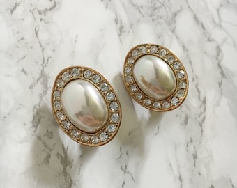crystal accent and pearl earrings