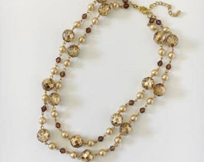 two-strand faceted bead necklace