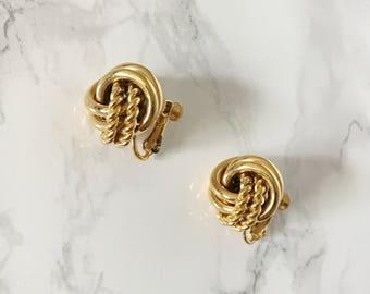 gold swirl button earrings