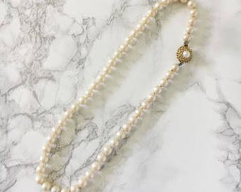pearl necklace with clasp accent