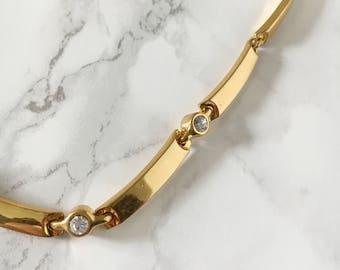rhinestone accent chain necklace