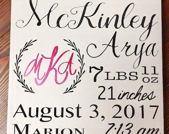 Baby announcement, custom birth announcement, handpainted
