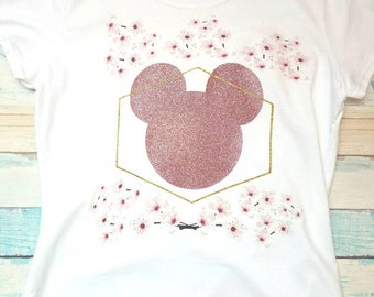 Glitter and Flower Minnie Mouse T-Shirt
