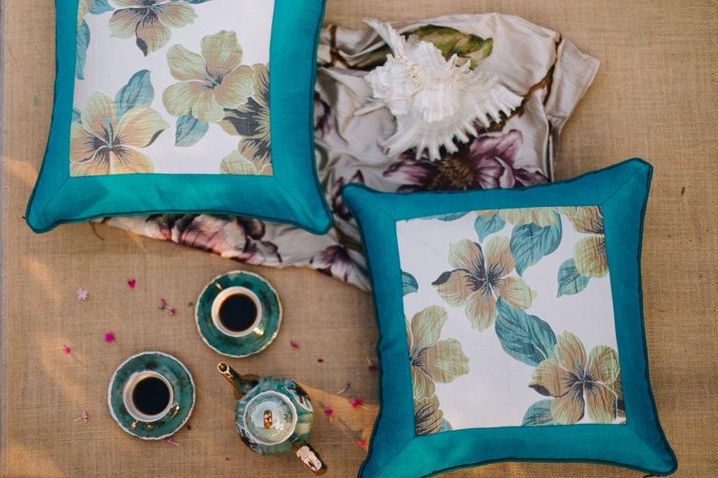 Single Blue Floral Cushion Cover