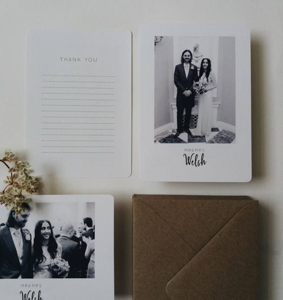 thank you Multipack 1,3,5 or 10,20,30,40,50 Personalised wedding card with Kraft envelope A6 Choose your heart colour
