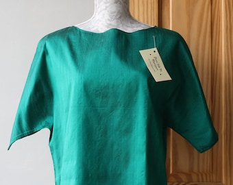 Vintage,Gorgeous pure silk taffeta top, hand made by me, with love.