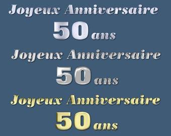 Clipart anniversaire etsy joyeux anniversaire 50 ans vector happy anniversary graphic text and clipart invitation 3d metalic png digital transparent background stopboris Images