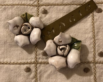 Handmade Ceramic Flower Embellishments Set of 2