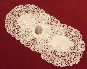 Linen and Lace Vintage Doilies Set of 3