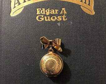 Vintage Jewelry - Brass Locket with Bow Pin