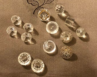 Vintage Buttons - Assorted Glass Buttons Set of 14