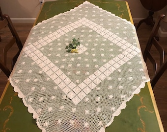 Vintage Dining Linens Textiles Cotton 1980s Tan Tablecloth with Ivory Knotted Fringe /& Drawn Work 54 Inches Square