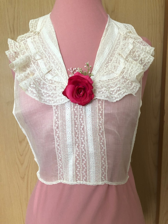 Vintage Lace and Organza Ruffled Bodice