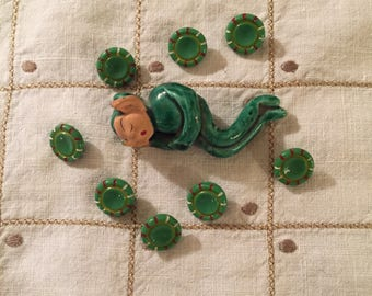 Cheerful Green Glass Buttons Set of 8