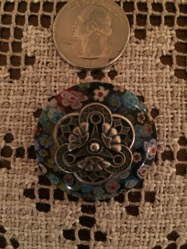 Vintage Jewelry Millefiori Glass Brooch with a Pewter Center