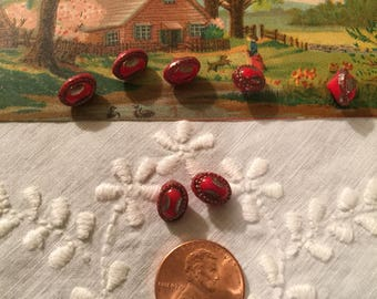 Vintage Mini Red Glass Buttons Set/7