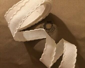 Vintage Trim - White Cotton Aida Trim for Cross Stitch