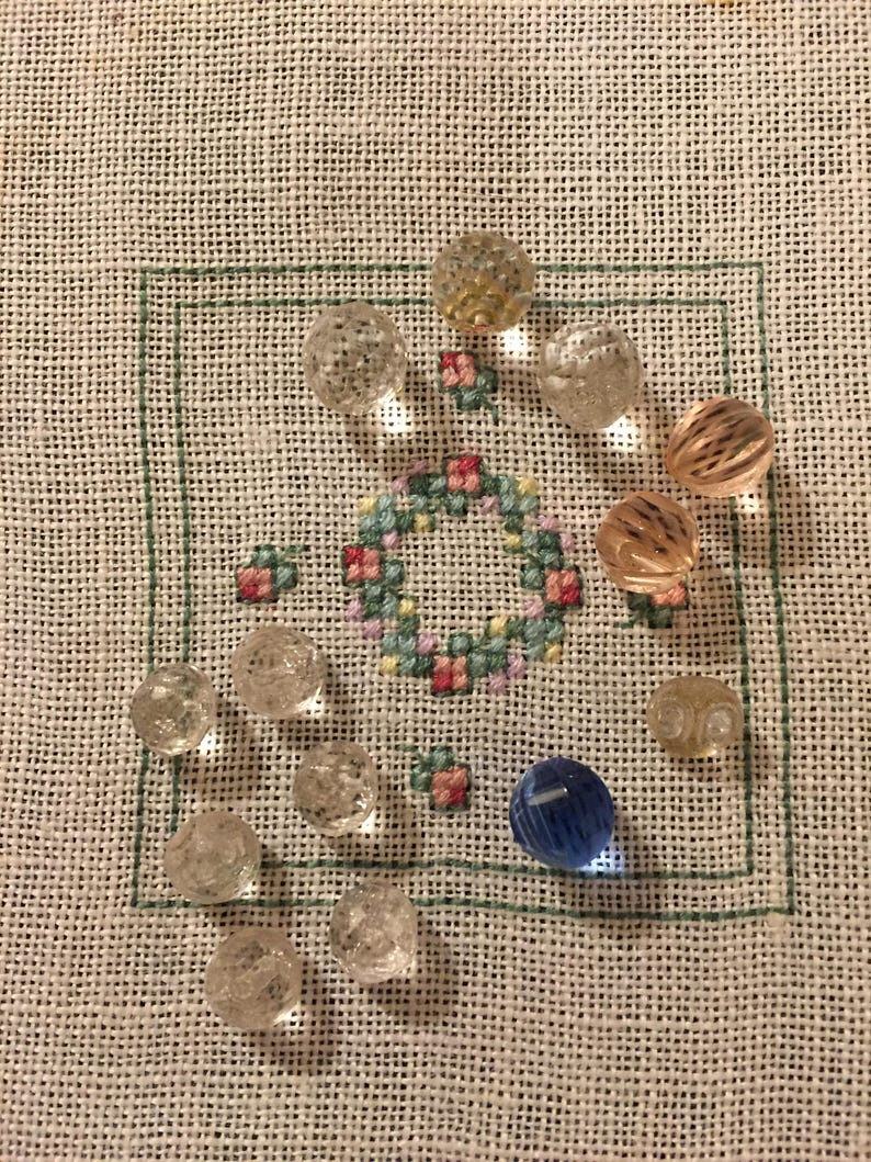 Vintage Buttons Assorted Cut Glass Buttons Set of 12