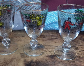 set of 3 compass rose and explorer small goblets