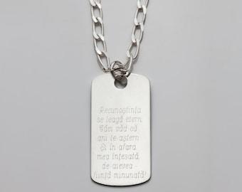 Poezie de suflet - gravata pe medalion de argint stil army