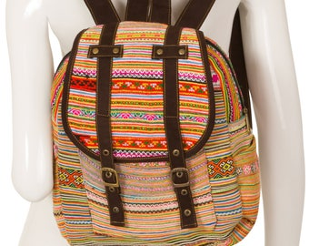 Small Hmong Vintage Backpack // Hand Embroidered Bag // Vitnamese Fabric // Ethnic Hippie Rucksack // Lanna Thai // Unique and Original