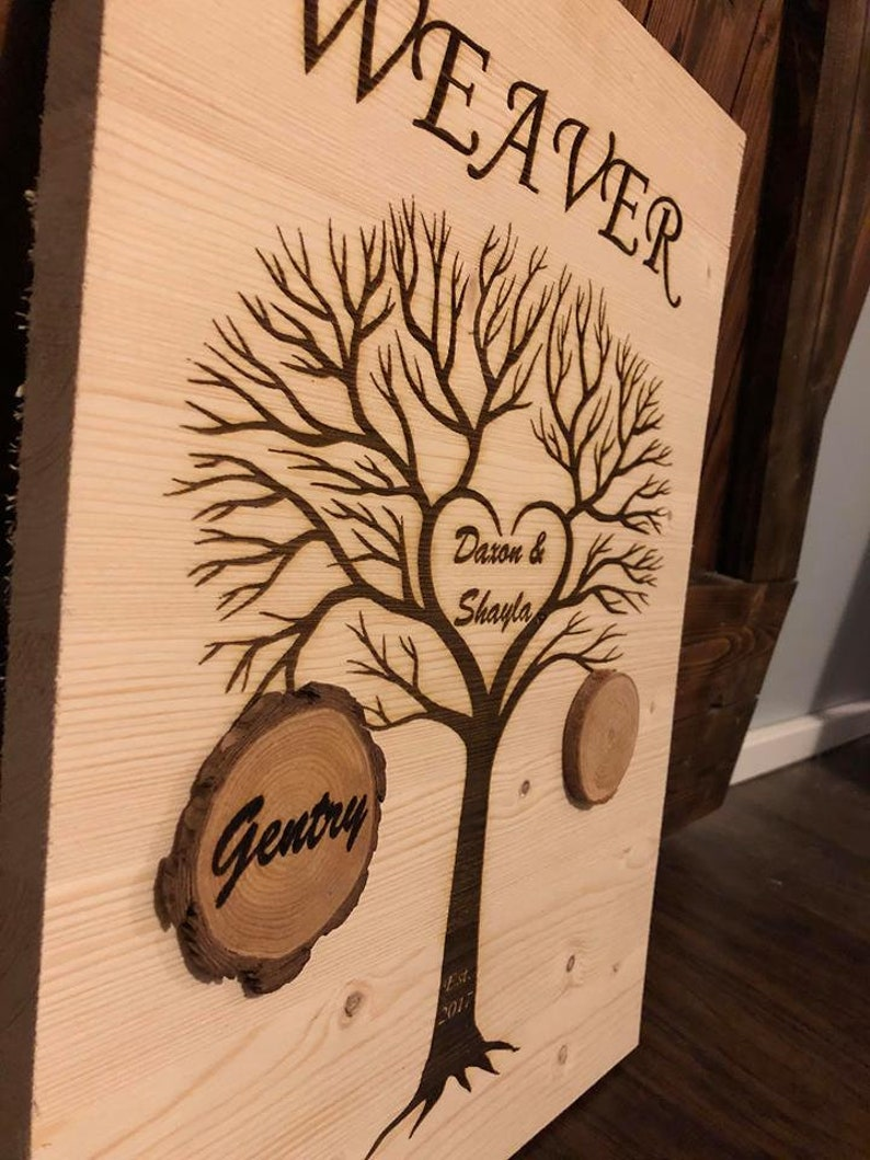 Wooden Family Tree Wood Sign Wall Art Decor Sign Grandchild Tree Personalized Family Tree Family Name Sign Family Established