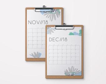 Printable Calendar 2018   Abstract Flower Design   2018 Desk Calendar, A4