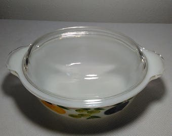 Vintage Fire-King Gay Fad Fruits 1.5 Quart Covered Casserole Milk Glass Oven Dish 1950s