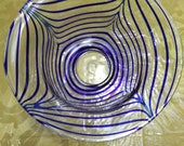 Mid-Century Italian Clear Glass Bowl with Blue Stripes - Handblown Glass - Murano Style Glass Bowl