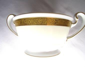 Noritake Goldkin Sugar Bowl - No Lid - Gold-Black Flower Band, Cream - White