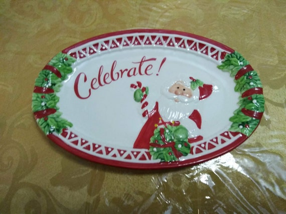 Christmas Platter Plates.Fitz Floyd Celebrate Serving Platter Christmas Holiday Red White Christmas Serving Dishes