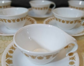 Corelle Gold Butterfly Hook Handle Cups Saucer Set of 6 1970 Corning Corell