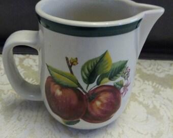 China Pearl Casuals Apple Creamer - Apple Kitchen - Harvest Kitchen - Fruit Motif - Apple Decor