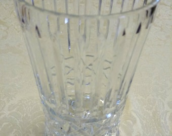 Vintage Block Crystal Encore Two Piece Open Hurricane Candle Holder 1995 - Leaded Crystal Candlestick Holder - Single Candlestick Holder