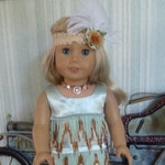 """1920s Flapper Dress, Headband, Shoes & Necklace - fits American Girl and Other 18"""" Doll"""