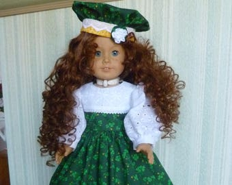 "Irish Shamrock Maiden - Dress. Tam, Pantalettes & Shoes - Fits American Girl and Other 18"" Dolls"