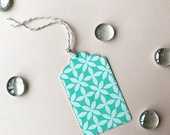 Gift tags-aqua with light blue patterns