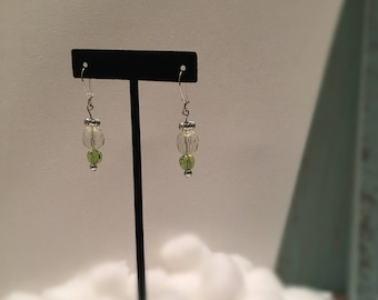 Green and Crystal Drop Earrings