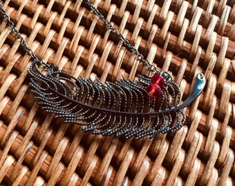 Feather Necklace with Red Bead Accents