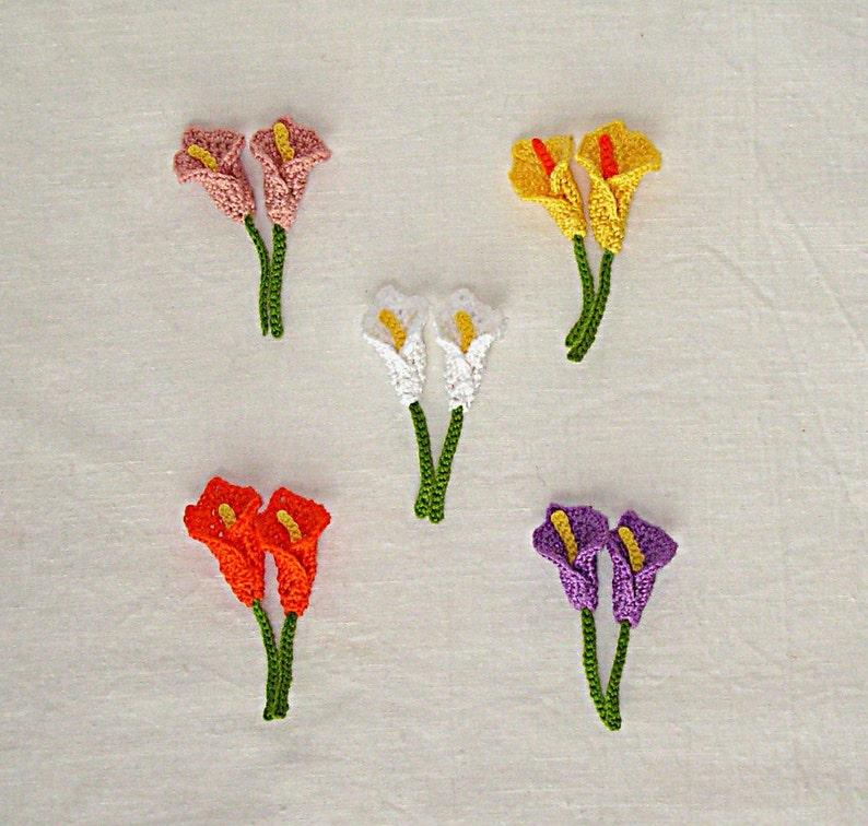 Set Of 2 Crochet Mini Calla Lily Applique Small Calla Etsy