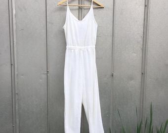 1396babe0c3 White Terry Cloth Tank Jumpsuit vintage xs-s