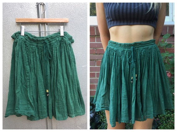 Indian Cotton Sheer Gypsy Green Skirt