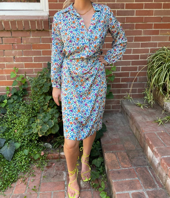 Vintage 70s Lanvin Floral Shirt Dress