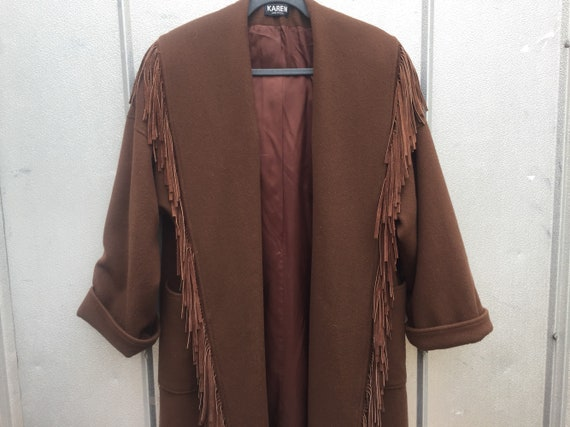70's Oversized Fringe Wool Coat