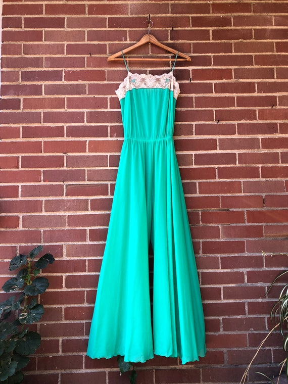 1930's Turquoise semi sheer wide leg Jumpsuit size