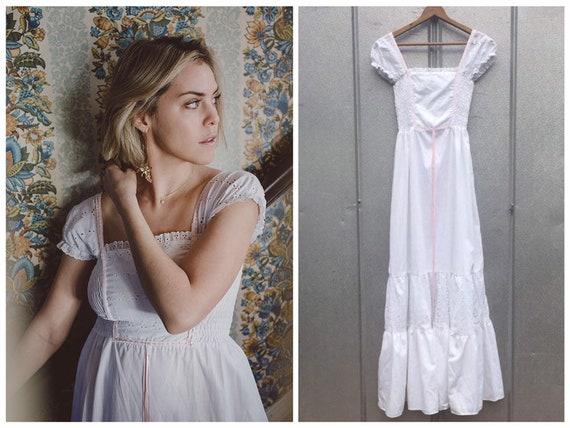 Eyelet Smocked White Peasant Dress